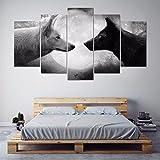 Gehören Frame HD Drucken 5 Stück Leinwand Wall Art black white Wolf malerei Kunst bild Leinwand Home Decor wall Kunstdruck Gemälde auf Leinwand, Größe 2