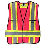 KwikSafety Class 2 Fall Protection High Visibility 5-Point Breakaway, Inspector, Contractor, Security, Surveyor Reflective Safety Vest with D-Ring Pass Thru, Pink, Size Small by KwikSafety