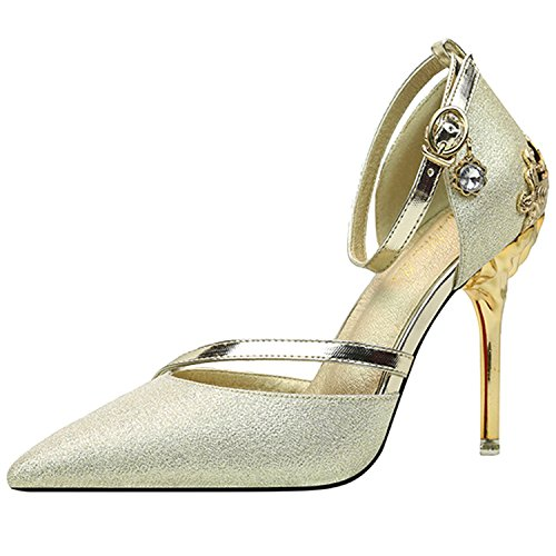 Oasap Women's Metal Decoration Pointed Toe High Heesl Pumps Light Golden