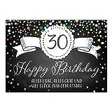 Große XXL Design Glückwunsch-Karte zum 30. Geburtstag mit Umschlag/DIN A4/Tafel-Look Konfetti/Grußkarte/Geburtstagskarte/Happy Birthday