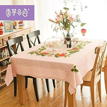 Piccoli tessuti freschi, tavolo da pranzo ricamato rosa ristoranti ...