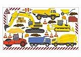 nikima - 048 Wandtattoo Wandbild Kinderzimmer Baumaschinen Bagger LKW Baustelle - in 6 Größen - Coole Kinderzimmer Sticker und Aufkleber Wanddeko Wandbild Junge Mädchen (1000 x 560 mm)