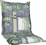 Gartenstuhlauflage Sitzkissen Polster Stuhlkissen für Niedriglehner Serie Nizza in Grau grün Beige Bambus Gräser Motive