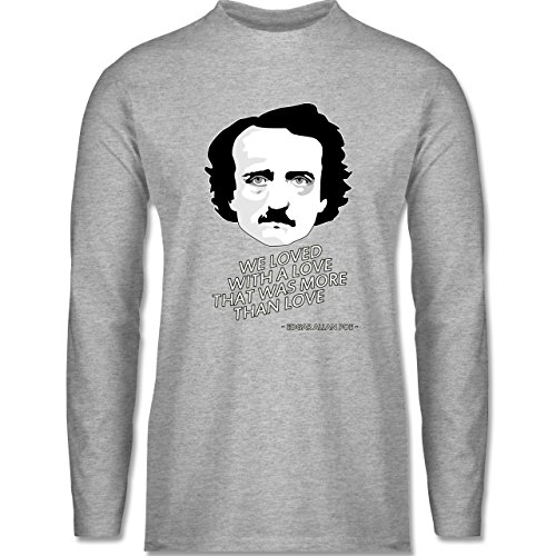 Shirtracer Statement Shirts - Edgar Allan Poe - We Loved With a Love That was More Than Love - Herren Langarmshirt Grau Meliert