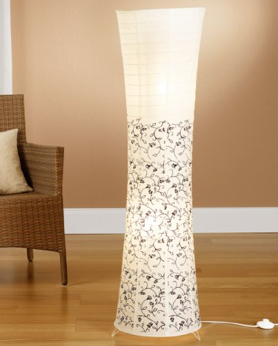 Trango Reispapier Stehleuchte Stehlampe in modernem Design mit floralem Muster 125 x 35cm (weiß-Floral inkl. 2x LED LM TG1240) - Wohnung-muster-design