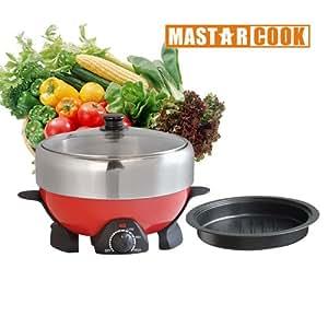 MASTARCOOK Mini BBQ Hot Pot Multi-cooker Steamboat with Non Stick Grill Plate 2.2L ZJ01