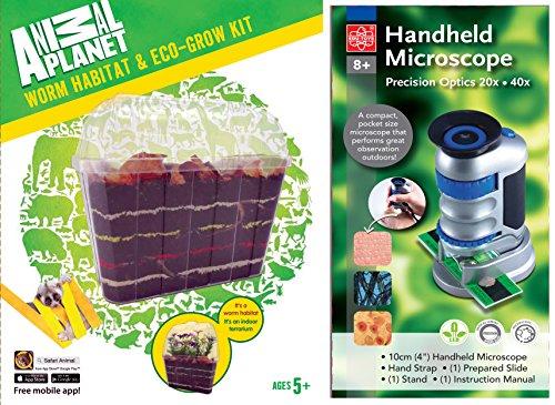 EDU Toys Wurmbiotop und Handmikroskop 20-40fach mit LED Beleuchtung und Objektträger - Mit Abdeckungen Objektträger