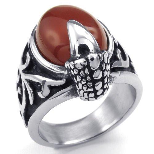Silber Oval Rot Onyx Drachenkralle Edelstahl Herren-Ringe Größe 65 (20.7) -- von Aooaz Schmuck