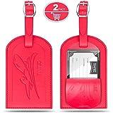 Etiquetas de equipaje, tintec 2Pack piel suave viaje maleta equipaje etiqueta tarjetas–Rojo
