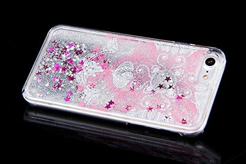 Custodia Cover iPhone 7/8,Ukayfe Modello Copertura Case Flowing Sparkles Argento Shinny Glitter Scintillio Bling Stars Polvere Anti Scratch Bumper di Protezione Trasparente Hardcase Cover per iPhone 7 Rosa fiore viticcio