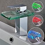 Auralum® Elegant LED RGB Glass Mischbatterie Armatur Wasserhahn Chrom Wasserfall Waschtisch...