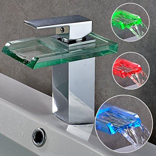 Auralum® Elegant LED RGB Glass Mischbatterie Armatur Wasserhahn Chrom Wasserfall Waschtisch Waschtischarmatur für Bad Badezimmer Küchen