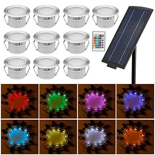10er Solarleuchte RGB LED Bodenstrahler Ø45mm Bodeneinbauleuchten Solarlampen Boden Licht IP65 Wasserdicht DC12V Einbauleuchten Außen Terrasse Küche Garten Lampe (Einbauleuchten Boden-licht)