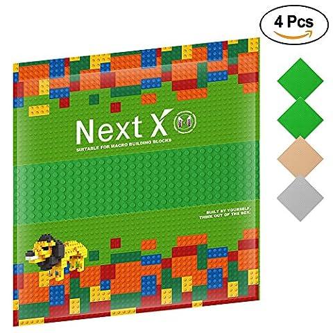 NextX 4 Stück Grundplatte für Classic Bausteine Plastik Bauplatte 25 x 25 cm - Grün+Grau+Sand (Ghostbusters Kostüm Diy)