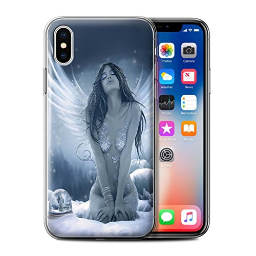 Officiel Elena Dudina Coque / Etui Gel TPU pour Apple iPhone X/10 / Tombé Design / Fantaisie Ange Collection La Nieve