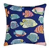 Manta almohadas interior al aire libre almohadas sofá náutica playa costera decoración peces azul marino 18'
