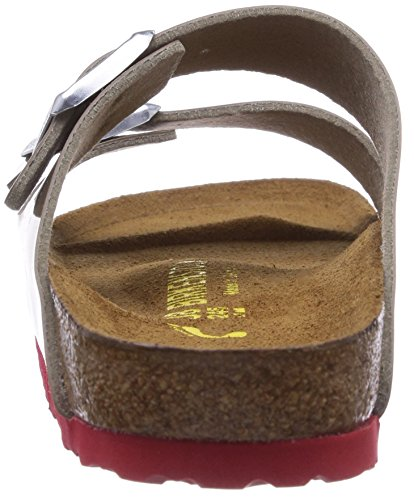 Birkenstock Classic ARIZONA Damen Pantoletten Grau (FOSSIL  LACK LS ROT)