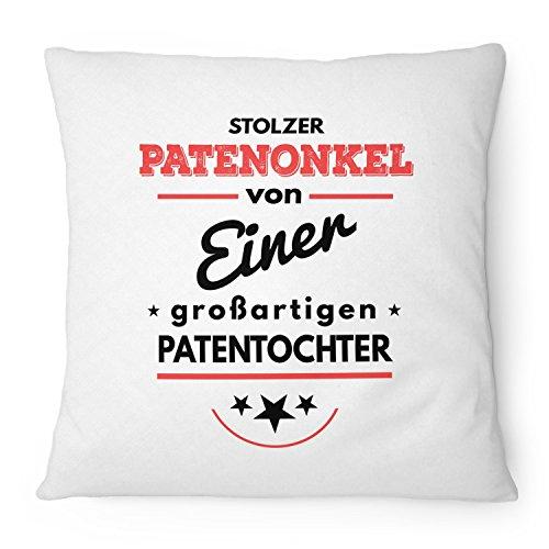 Fashionalarm Kissen Stolzer Patenonkel von 1 Patentochter - 40x40 cm mit Füllung | Geburtstag Geschenk Idee Taufpate Pate Taufe Geburt Mädchen, Farbe:weiß