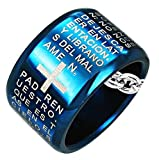 "Spanish ""The Lords Prayer"" Ring Pendant Blue Stainless Steel"