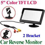 BW 5 Inch TFT-LCD Security Digital Car Monitor Car View Monitor with Two Brackets and Two Video Input, High -resolution Picture & Full Color LCD Backlight Display For Car Rear View Cameras/Car DVD/VCD/GPS/other Video Equipment