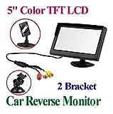 BW 12,7cm TFT-LCD de sécurité voiture moniteur numérique de voiture View Monitor avec deux supports et deux entrée vidéo, Haute–Résolution photo & Full Color Écran LCD rétro-éclairé pour appareil photo vue arrière/voiture/DVD/VCD/GPS/autre équipement vidéo