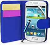 Supergets® Samsung Galaxy S3 mini I8190 Dark Blue Side Flip Wallet PU Leather Case Covers, Screen Protector and Mini Stylus