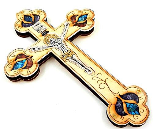 Talisman4u Katholisches Kruzifix, Wanddekoration aus Holz mit bunten Halbedelsteinen, gesegnet in Jerusalem, tolles Geschenk, 17,8 cm