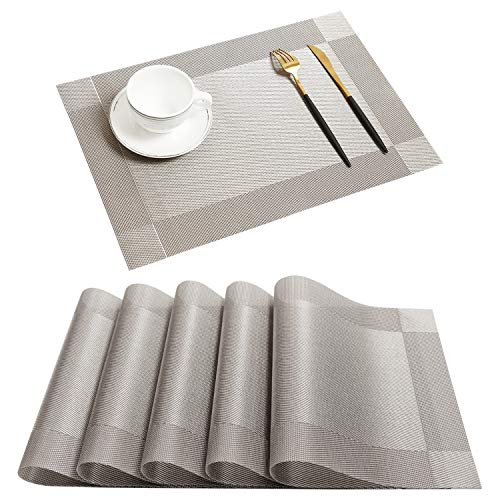 Homcomoda Platzsets Rutschfest Abwaschbar Tischsets Kunststoff Platzdeckchen 30x45 cm 4er Set(Grau)