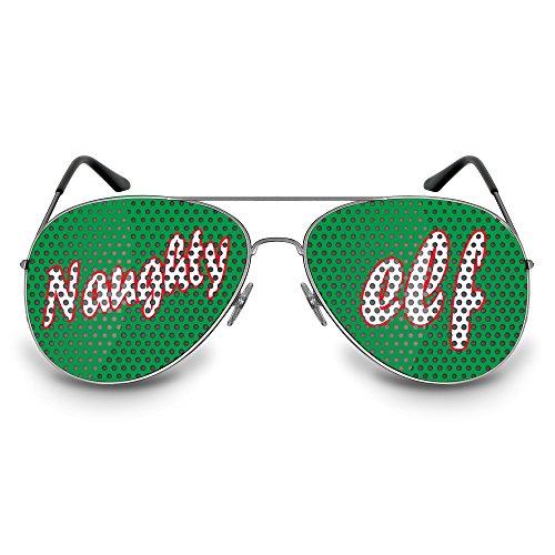 (COOLEARTIKEL Partybrille / Spassbrille für Weihnachten, lustige Accessoire Idee für die Weihnachtfeier oder Christmas Party, Atzen-brille mit X-MAS Motiv (Pilot silber, Naughty elf))