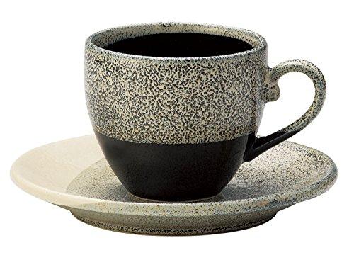 Japonesa Mino-yaki cerámica taza de café con plato–gris esmalte por Aitoh 266423