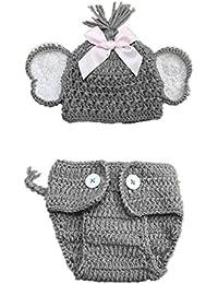 Fotografía Traje QUICKLYLY 2pcs Recién Elástico Punto Foto Sombrero Bebé + Pantalones Cortos