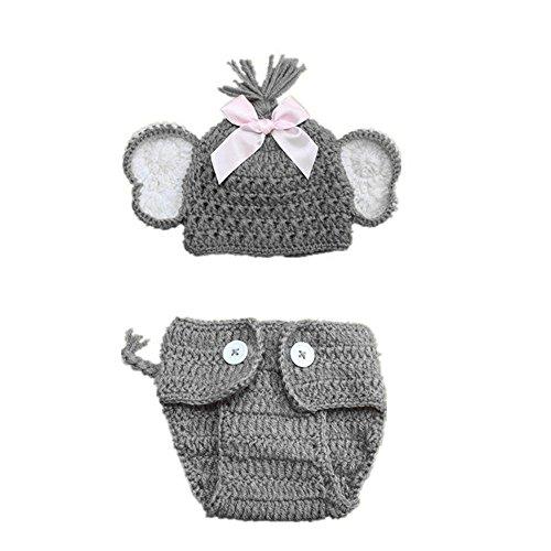 SUCES Baby Wintermütze 2 Stück Neugeborenen Stricken Hut + Shorts Fotografie Requisiten Kostüm Mode Gestrickt Kindermützen Süß Kappe Schlupfmütze - Ein Stück Farbe Kostüm