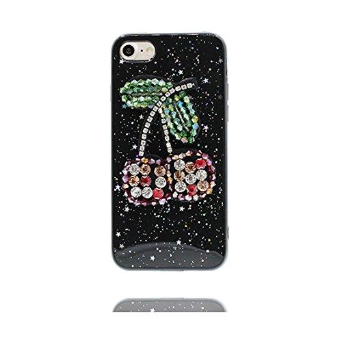 Custodia iPhone 7, Design morbido mobile Flexible Case iPhone 7 copertura Cover e ring supporto Shell Graffi Resistenti - cactus Nero 7