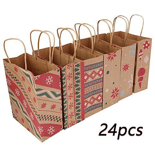 ZLYCZW 24pcs Kraft Taschen mit 6 Mustern Weihnachtsdrucke für Kraft Urlaub Papiergeschenk Taschen, Taschen, Klassenzimmer und Partyartikel