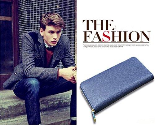 Da uomo/Da donna in pelle PU a portafoglio frizione borsa Portafoglio Cards denaro blu BLUE Länge: 16cm, Breite: 9cm, Dicke�?,5cm BLUE