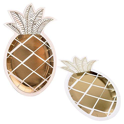 QILICZ 16er Ananas Pappteller Goldfolie Ananas Einweg Geschirr Papierbesteck Umweltfreundlich biologisch für Party Kindergeburtstag Hochzeit Baby Taufe