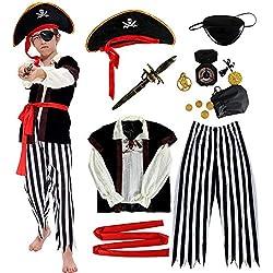 Disfraz de Pirata Niño con Accesorios Pirata Parche Daga brújula Monedero Pendiente Oro Medasie Disfraz de Halloween Niños Fancy Dress Disfraz (S (4-6 años))