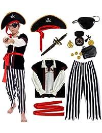 Disfraz de Pirata Niño con Accesorios Pirata Parche Daga brújula Monedero Pendiente Oro Medasie Disfraz de