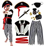 Tacobear Piratenkostüm Kinder Jungen mit Piraten Zubehöre Piraten Augenklappe Piraten Dolch Kompass Geldbeutel Ohrring Gold medasie Halloween Kostüm Piraten Kostüm Kinder (S (4-6 Jahre))