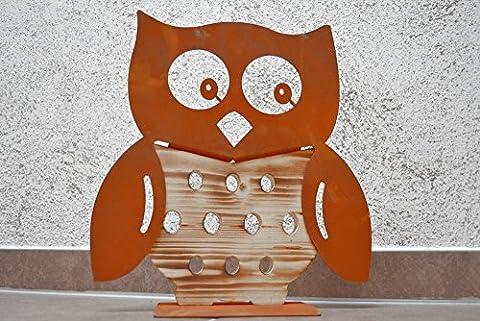 Eule Holzeule Rosteule Holz Rost Edelrost Metall Deko Dekoration Muttertag Geschenk Deko-Idee Frühlingsdeko Frühling