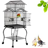 Yaheetech Triple Roof Top Rolling Parrot Cage Bird Cage for Mid-Sized Parrots Cockatiel Parakeet Green Cheek Conure Caique Aviary Canary with Detachable Stand 140cm High