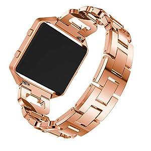 Fitbit Blaze Smart Uhr Armband,Intelligent Uhr Strass Bling Ersatz Zubehör Sportuhr Uhrenarmband Handschlaufe mit Rahmen für Fitbit Blaze