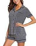 MAXMODA Damen Baumwolle Pyjama Set Shorty mit Shorts Kurz Schlafanzug Nachtwäsche Nachthemd Streifen Design