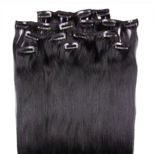 Noir naturel (# 1B) 8 Lot de 100 g 50,8 cm bande dans Remy de cheveux humains clip Extension de cheveux