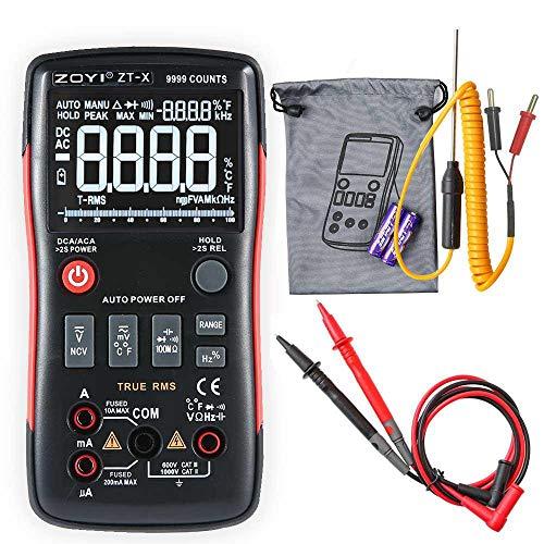 ZT-X Digitales Multimeter,True-RMS 9999 Counts, 3-zeiliger Dispaly-Auto-Ranging,NCV-Detektor Temperatur Kapazität Frequenz,AC/DC Spannung Strom Widerstand Diode Amp Ohm Voltmeter Durchgangsprüfer Dc-spannung Detektor