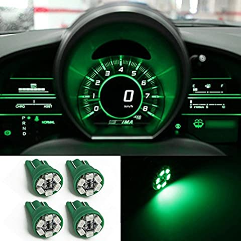 Water & Wood 4x Green T10 Wedge 6-SMD LED Dashboard Instrument Panel Indicator Light Bulb