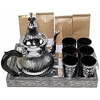 DonRegaloWeb - Juego de té marroquí con bandeja, tetera vasos y surtido de tés