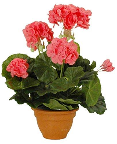 MICA Decorations 975223 Grand Pot de géraniums artificiels, Rose