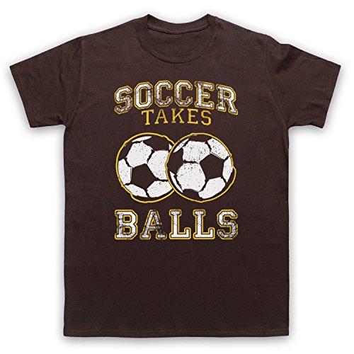 Soccer Takes Balls Funny Football Slogan Herren T-Shirt Braun