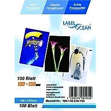 LabelOcean 100 hojas de papel premium foto de 10x15cm 230 g / qm Highglossy alto brillo impermeable